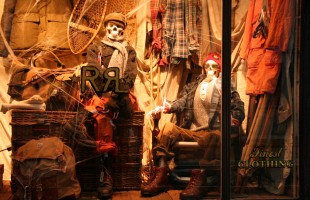 Halloween Skeletons in Wool Window Display 2009 at Ralph Lauren