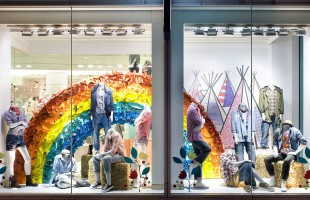 Summers Rainbow Window Display 2010 at GAP