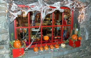 A Traditional Halloween Window Display 2011 at the Beads store Hammered Edge