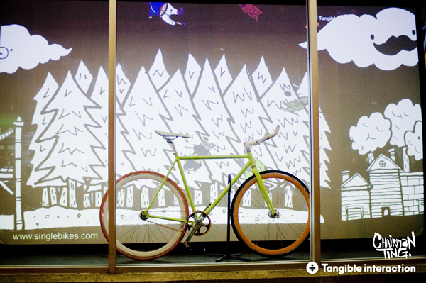 An Animated Projection On The Window Of Single Bikes Based In Vancouver Canada Ilration And Artwork Is Done By Chairman Ting