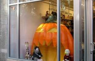 A Big Pumpkin Halloween Window Display 2009 at Little Marc Jacobs