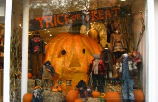 Trick or Treat Big Pumpkin Halloween Window Display 2011 at Ralph Lauren Kids