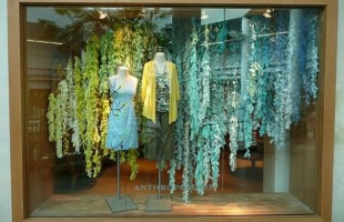 Anthropologie Yellow to Teal Wisteria Flowers Summer Window Display 2009