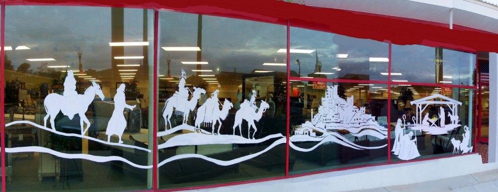The 3 Wise Men Painted on Badcocks Home Furniture & More Window ...