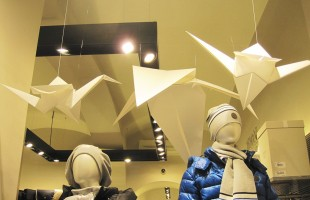 "Armani Junior ""Origami Paper Birds"" Winter Window Display 2012"