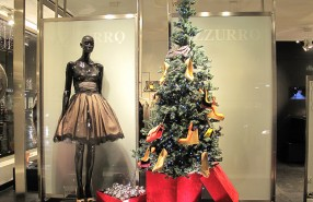 "Azzurro ""Christmas Shoes Tree"" Window Display"