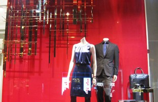 "HUGO BOSS ""Golden Abstract Grid"" Winter Window Display"