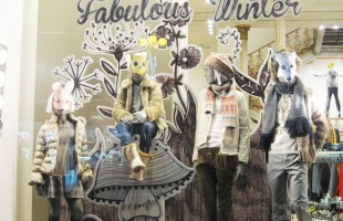 "United Colors of Benetton ""Drawn Woods"" Winter Window Display"