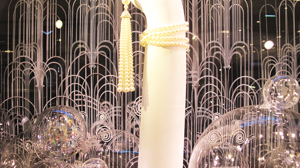 The Great Gatsby Pearl Tassel Necklace Window Display At