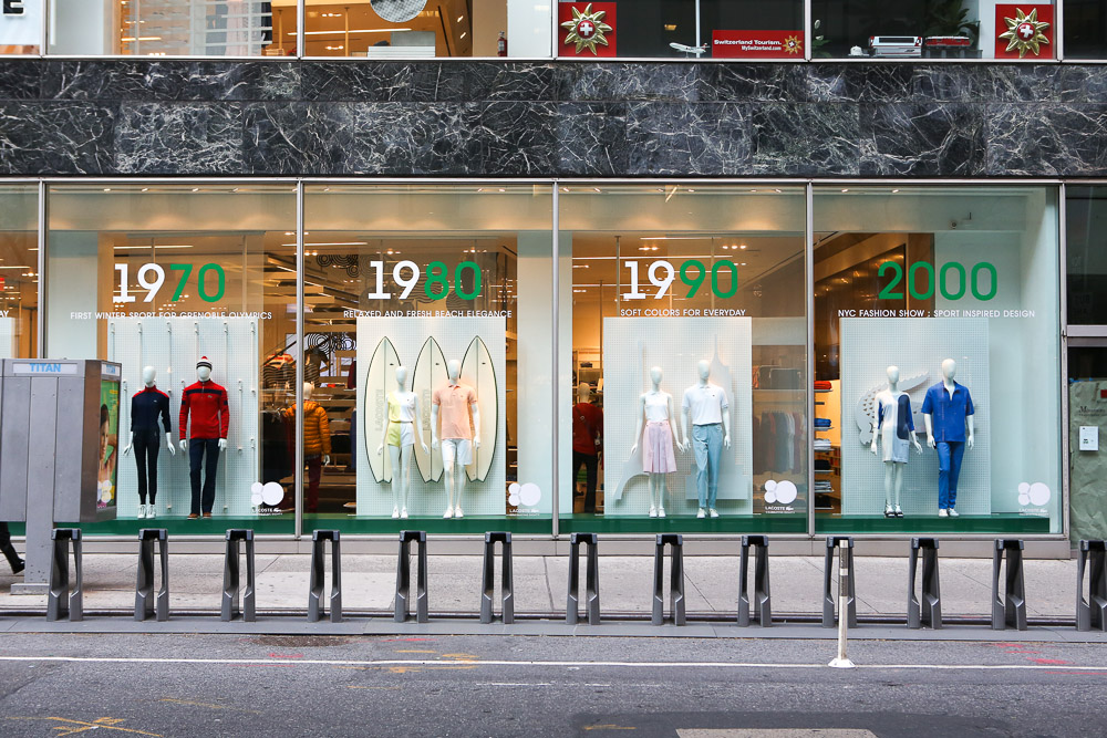 1be14b695f7941 LACOSTE 80th Anniversary Interactive Window Display during NY Fashion Week.  Store  LACOSTE  Brand  LACOSTE  Location  5th Avenue ...