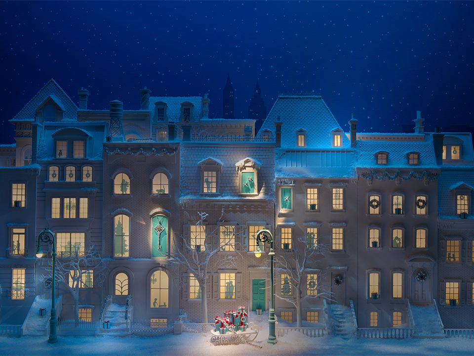 Tiffany co snowy new york streets holiday window for New window company