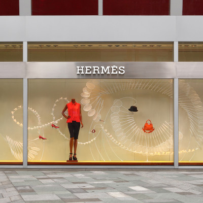 "Hermès ""A Sporting Life"" window display by Design Systems Ltd"