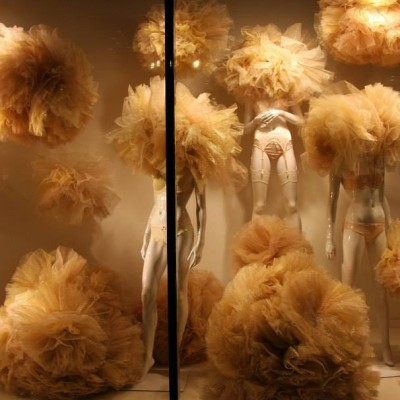 Gold Tulle Lingerie Valentine Window Display at Galeries Lafayette Berlin
