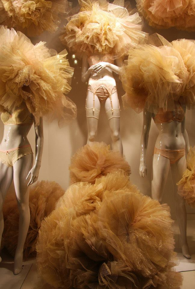 Gold Tulle Lingerie Valentine Window Display At Galeries