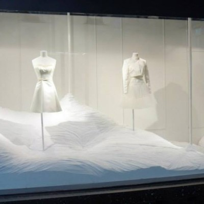 Inspirez, Respirez White & Silver Window Display at Galeries Lafayette