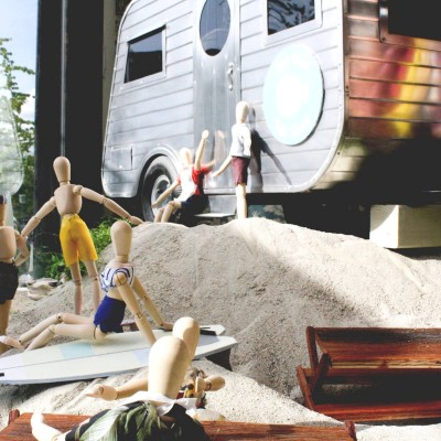 Front and Company 'Wooden Dolls on the Beach' Window Display