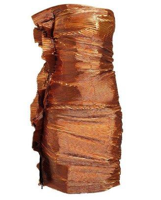 Lanvin Accordion Pleated Metallic Lurex Dress
