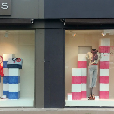 CYRILLUS Stripes Spring Window Display by TOMISH design