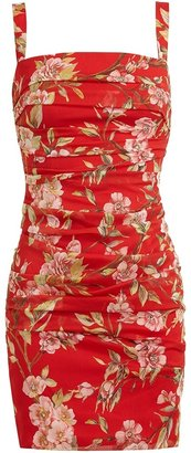 Dolce & Gabbana Floral Printed Ruched Silk Dress