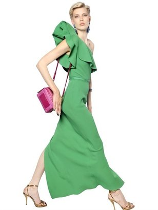 Lanvin Ruffle Viscose Crepe Long Dress