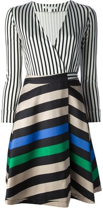 Diane von Furstenberg Contrast stripe wrap dress