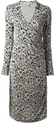 Diane von Furstenberg Vintage Collared Monochrome Wrap Dress