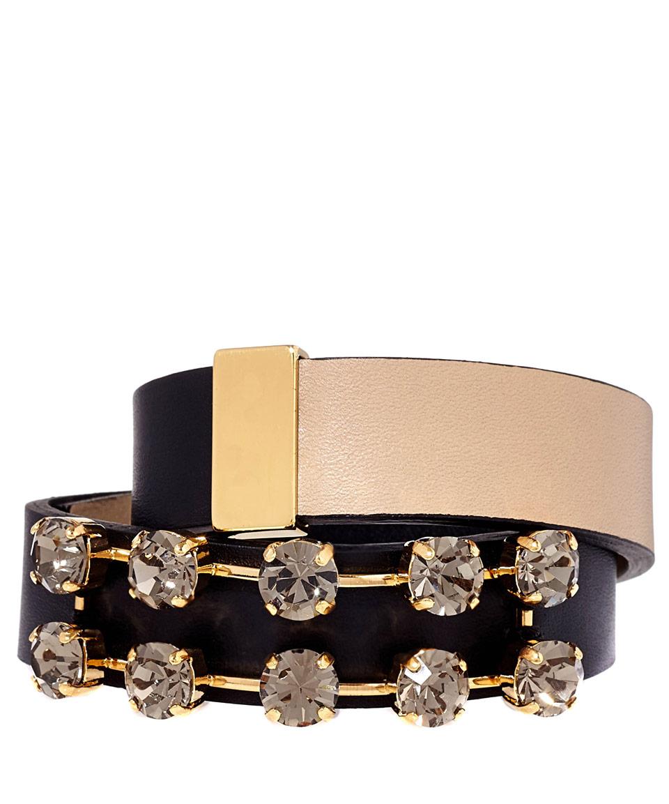 Marni Black and Tan Leather Double Wrap Bracelet