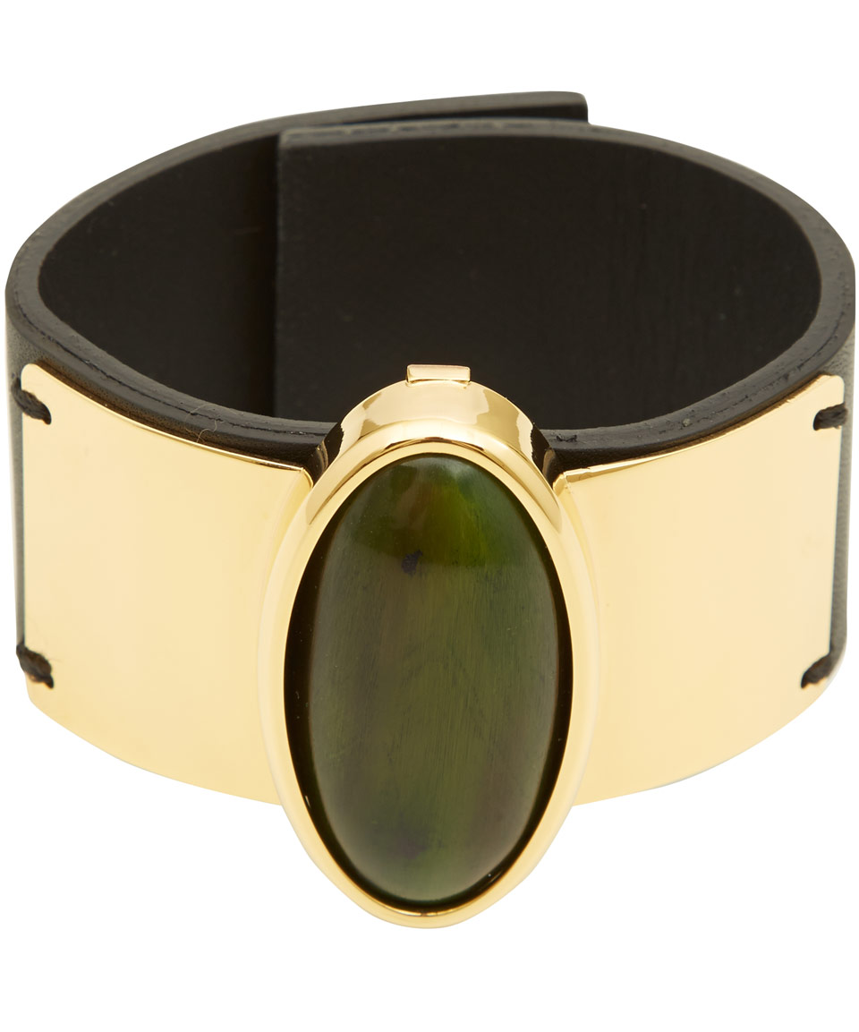 Marni Green Horn Detail Leather Bracelet