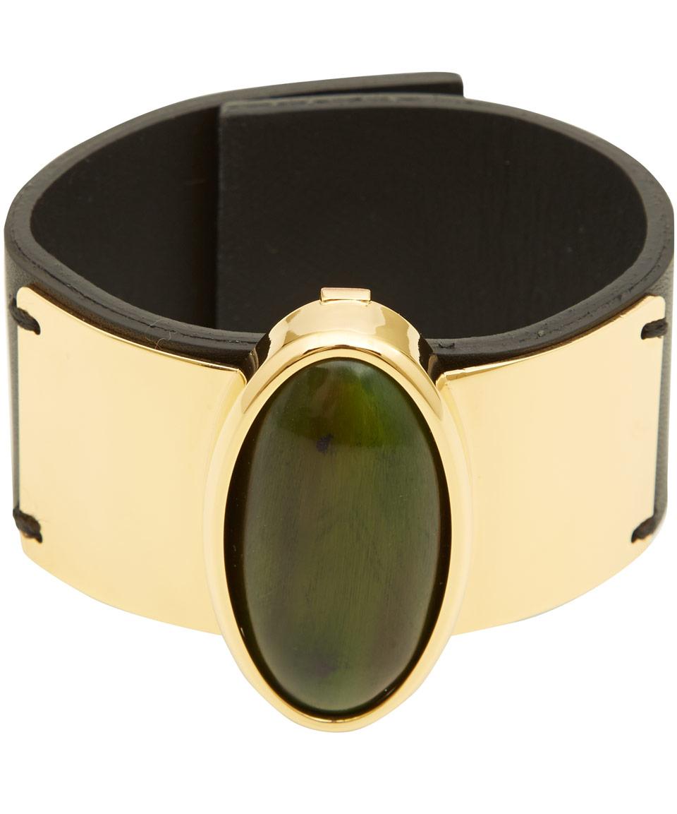 Marni Green Horn Detail Leather Bracelet