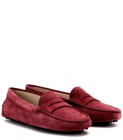 TOD'S Dark red Suede Moccasins