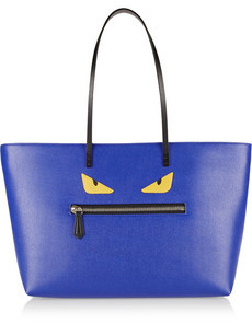 FENDI Blue Buggies Textured Leather Handbag