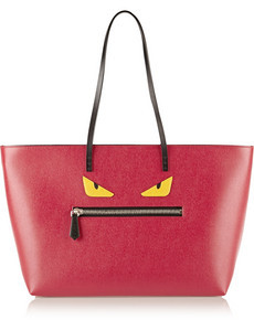 FENDI Red Buggies Textured Leather Handbag