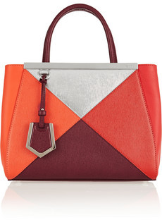 FENDI Textured Leather Colorblock Handbag