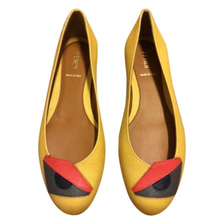 FENDI Yellow Buggies Ballerinas