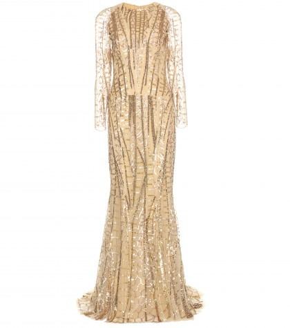 ZUHAIR MURAD Long Dress In Sequins Embroidered Tulle