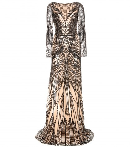 ZUHAIR MURAD Silk Dress In Sequins Embroidered Tulle