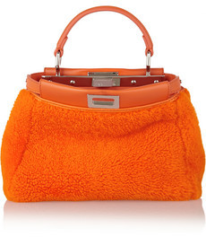 FENDI Orange Mouton Leather Bag