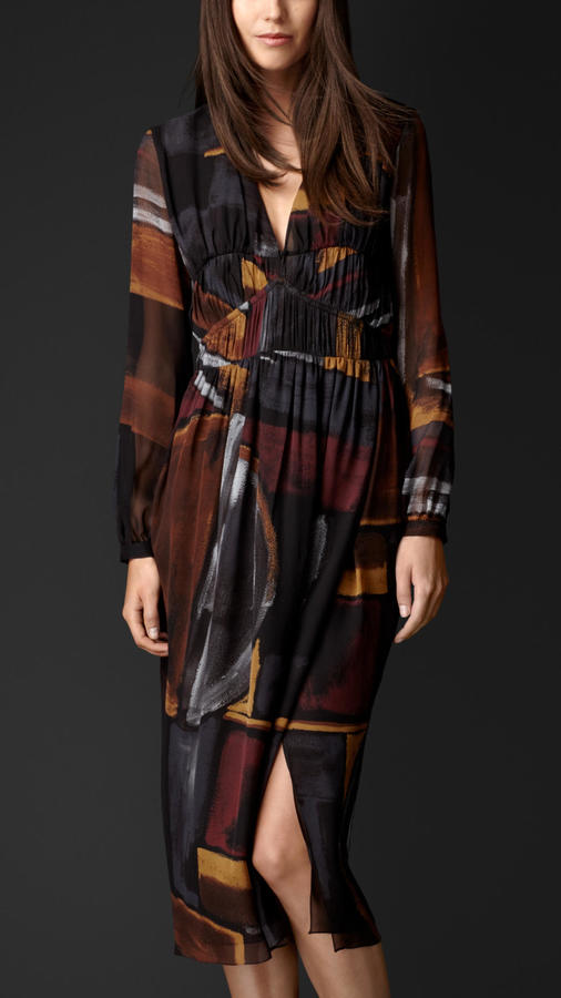 Burberry Silk Printed Géométriq Dress